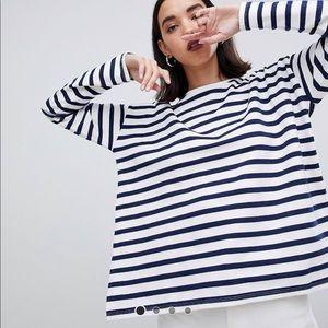 ASOS striped top in white/navy